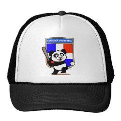Trucker Hat with Dominican Republic Baseball Panda design