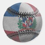 Dominican Republic Baseball Round Stickers