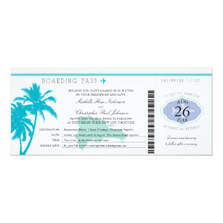 Dominican Republic Boarding Pass Palm Trees Card