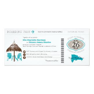 Dominican Republic Boarding Pass Wedding 4x9.25 Paper Invitation Card