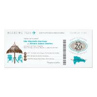Dominican Republic Boarding Pass Wedding 4x9.25 Paper Invitation Card (<em>$2.57</em>)