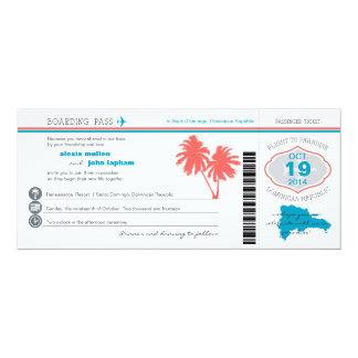 """Dominican Republic Boarding PassWedding Invitation 4"""" X 9.25"""" Invitation Card"""