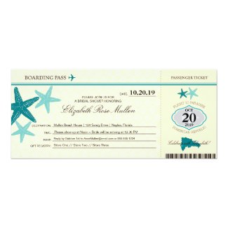 Dominican Republic Bridal Shower Boarding Pass Invitation