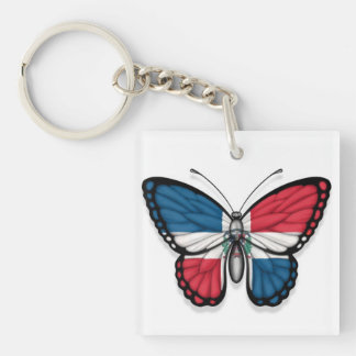 Dominican Republic Butterfly Flag Keychain