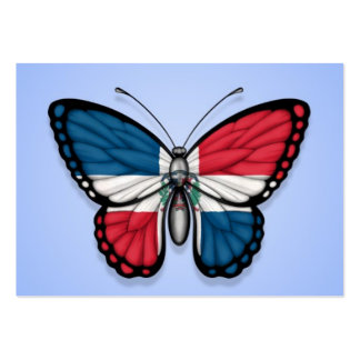 Dominican Republic Butterfly Flag on Blue Business Card Template