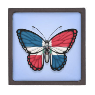 Dominican Republic Butterfly Flag on Blue Premium Trinket Box