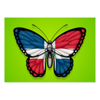 Dominican Republic Butterfly Flag on Green Business Card Templates