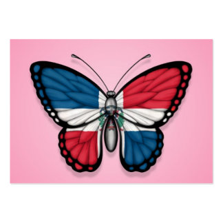 Dominican Republic Butterfly Flag on Pink Business Card Template