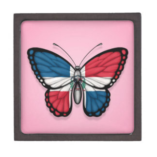 Dominican Republic Butterfly Flag on Pink Premium Gift Boxes