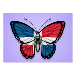 Dominican Republic Butterfly Flag on Purple Business Card