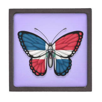 Dominican Republic Butterfly Flag on Purple Premium Gift Boxes