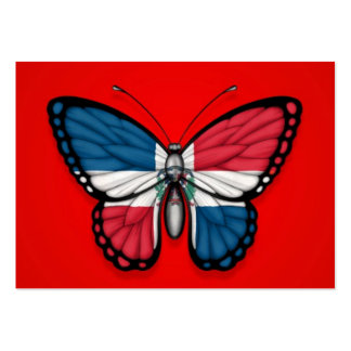 Dominican Republic Butterfly Flag on Red Business Card