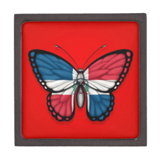 Dominican Republic Butterfly Flag on Red Premium Gift Boxes