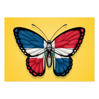Dominican Republic Butterfly Flag on Yellow Business Card