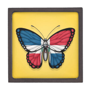 Dominican Republic Butterfly Flag on Yellow Premium Trinket Box