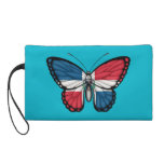 Dominican Republic Butterfly Flag Wristlet Purses