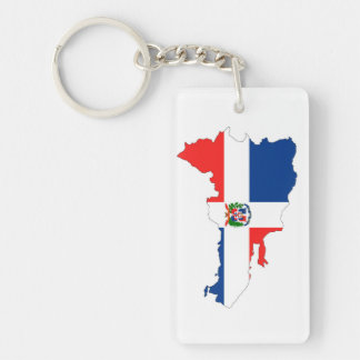 dominican republic country flag map shape symbol keychain