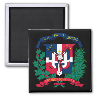 dominican republic emblem 2 inch square magnet