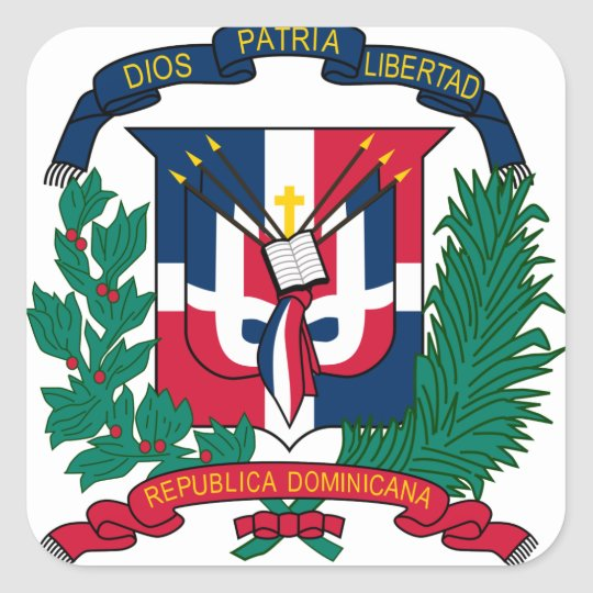 dominican republic emblem square sticker