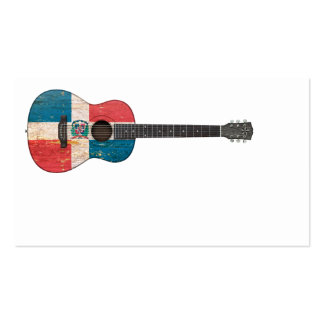 Dominican Republic Flag Acoustic Guitar Business Card
