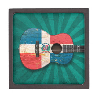 Dominican Republic Flag Acoustic Guitar, teal Premium Jewelry Box