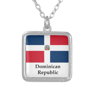 Dominican Republic Flag And Name Square Pendant Necklace