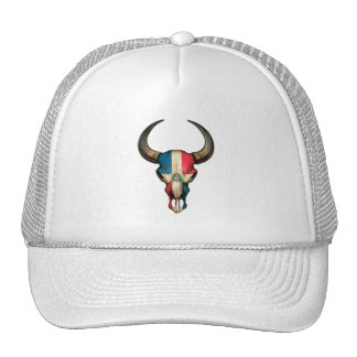 Dominican Republic Flag Bull Skull Hat