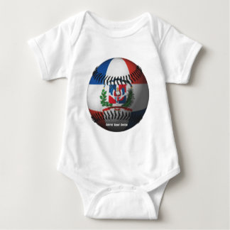 Dominican Republic Flag Covered Baseball Baby Bodysuit