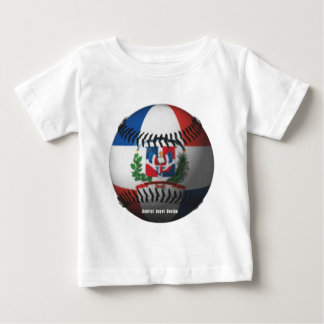Dominican Republic Flag Covered Baseball Baby T-Shirt