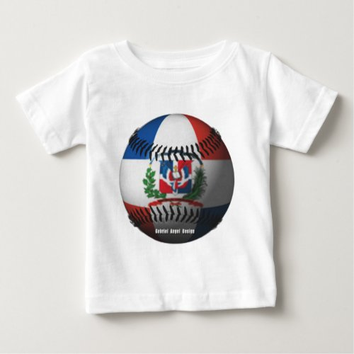 Dominican Republic Flag Covered Baseball Baby T_Shirt
