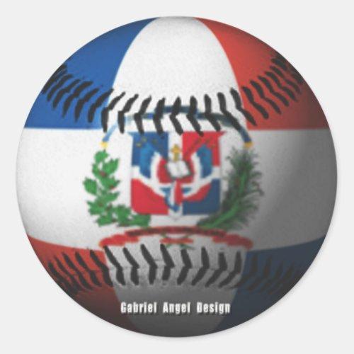 Dominican Republic Flag Covered Baseball Classic Round Sticker