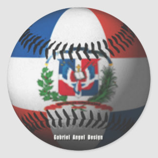 Dominican Republic Flag Covered Baseball Classic Round Sticker