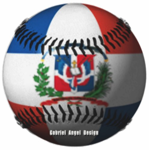 Dominican Republic Flag Covered Baseball Cutout
