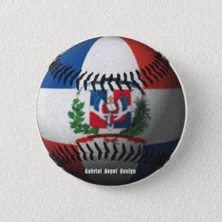 Dominican Republic Flag Covered Baseball Pinback Button