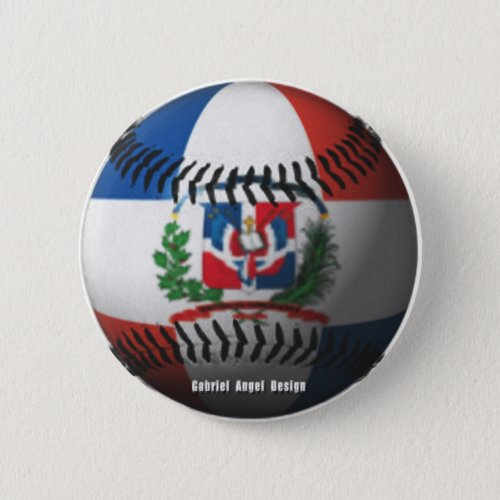 Dominican Republic Flag Covered Baseball Pinback Button