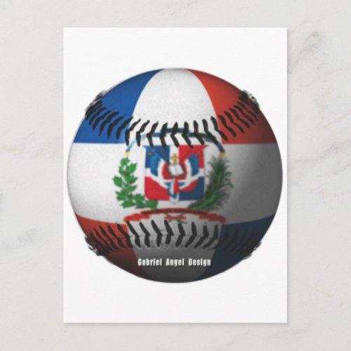 Dominican Republic Flag Covered Baseball Postcard