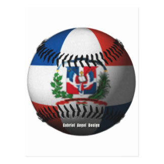 Dominican Republic Flag Covered Baseball Postcard