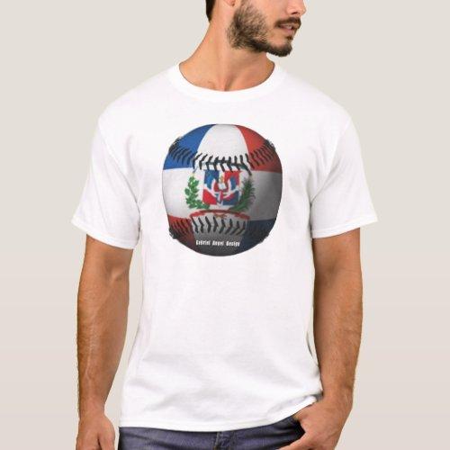 Dominican Republic Flag Covered Baseball T_Shirt