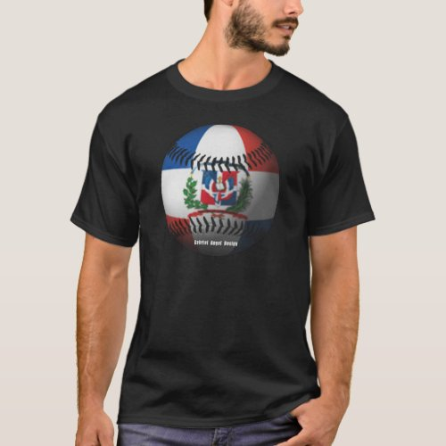 Dominican Republic Flag Covered Baseball T_Shirt