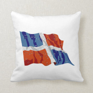 Dominican Republic Flag (Distressed) Throw Pillow