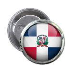 Dominican Republic Flag Glass Ball Pinback Button