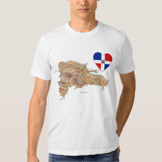 Dominican Republic Flag Heart and Map T-Shirt