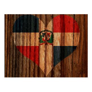 Dominican+Republic Flag Heart on Wood theme Postcard