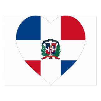 Dominican Republic Flag Heart Postcard