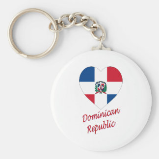 Dominican Republic Flag Heart with Name Basic Round Button Keychain
