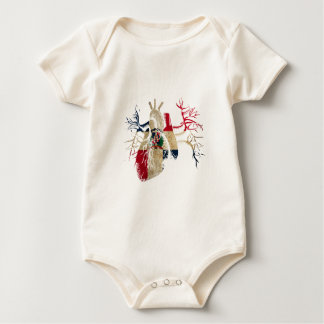 Dominican-Republic Flag in Real heart Baby Bodysuit