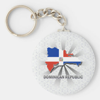 Dominican Republic Flag Map 2.0 Keychain