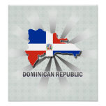 Dominican Republic Flag Map 2.0 Poster