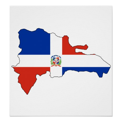Dominican Republic Flag Map full size Poster