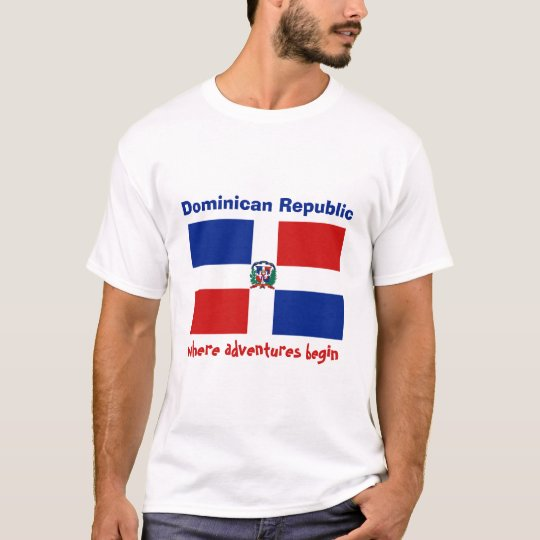 Dominican Republic Flag + Map + Text T-Shirt